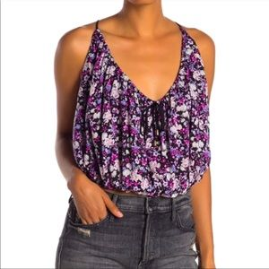 Free People Daisy Babe Purple Floral Crop Top